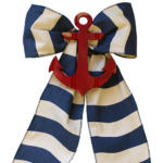Blue Cabana Stripe with Red Anchor