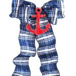 Navy/White Plaid with Red Anchor