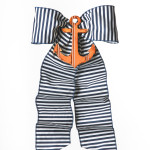 Navy Stripe with Orange Anchor