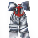 Navy Stripe with Red Anchor