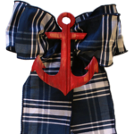 Navy and White Plaid with Red Anchor